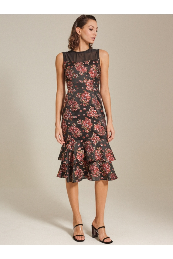 Tiered Brocade Dress