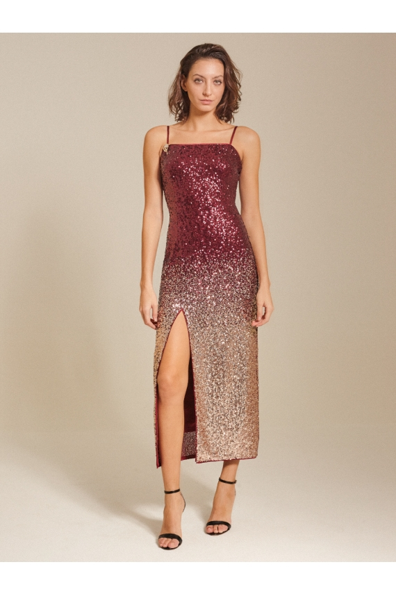 Ombre-Sequin Midi Dress