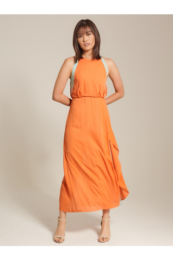 Colour-Block Chiffon Maxi Dress