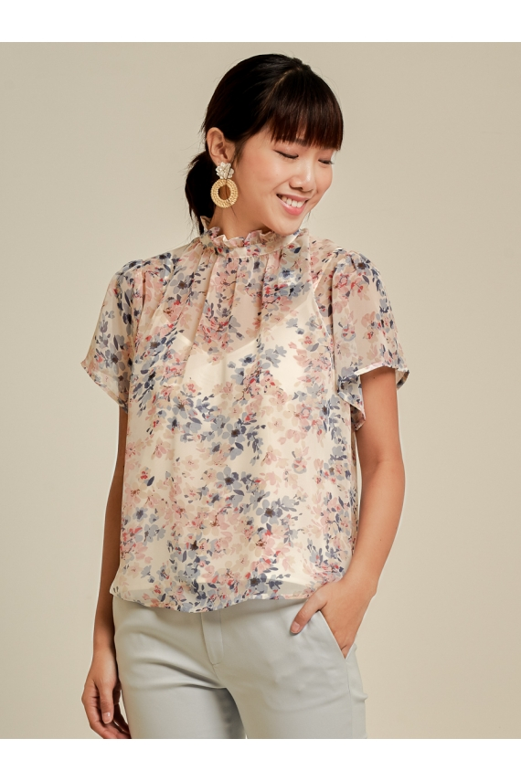 Printed Chiffon Top With Detachable Inner