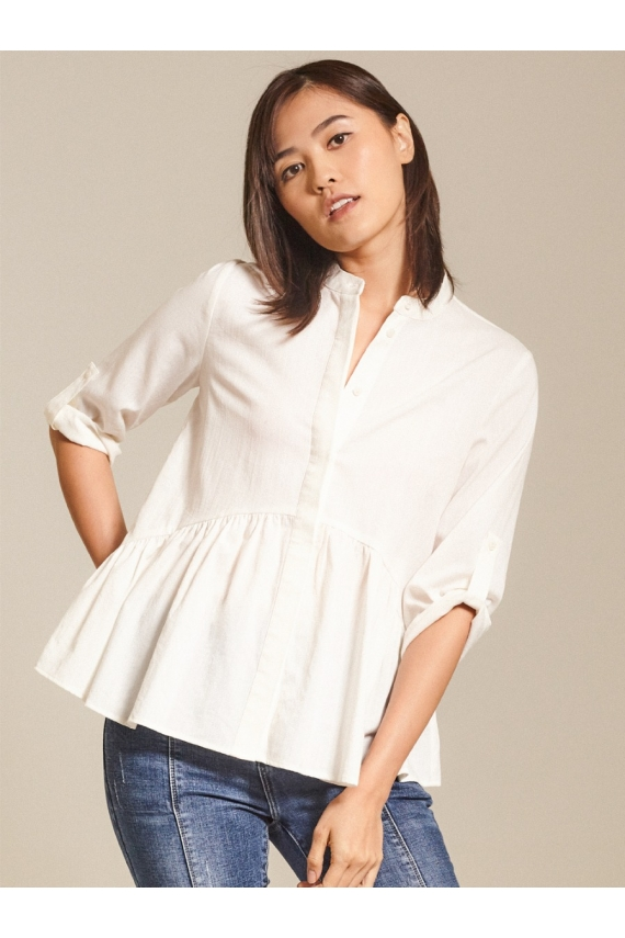 Ruffled Slub Cotton Top