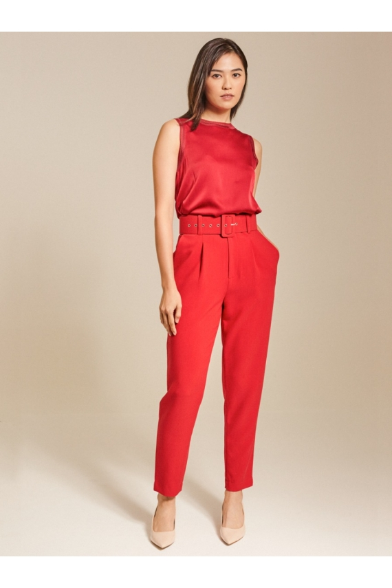 Belted High-Rise Crepe Tapered Pants