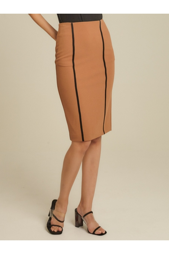 Contrast Piping Roma Knit Pencil Skirt