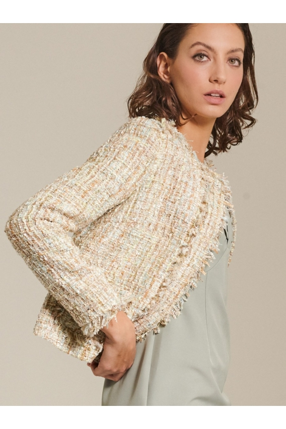 Cropped Boucle Tweed Jacket