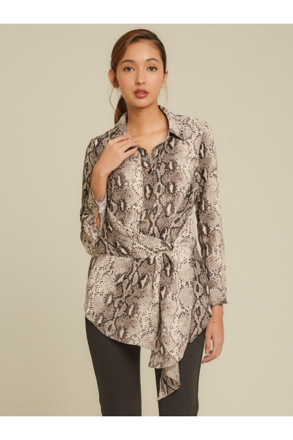 Front Knot Snake-Printed Crepe Tunic