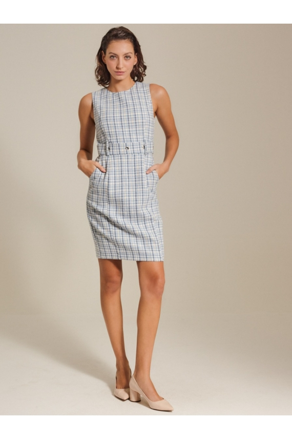 Paneled Tweed Dress