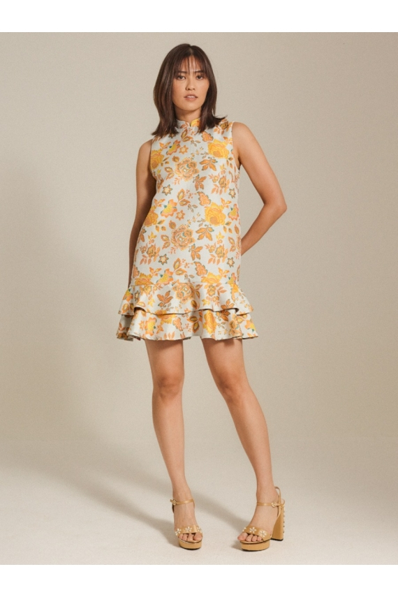 Oriental Jacquard Shift Dress