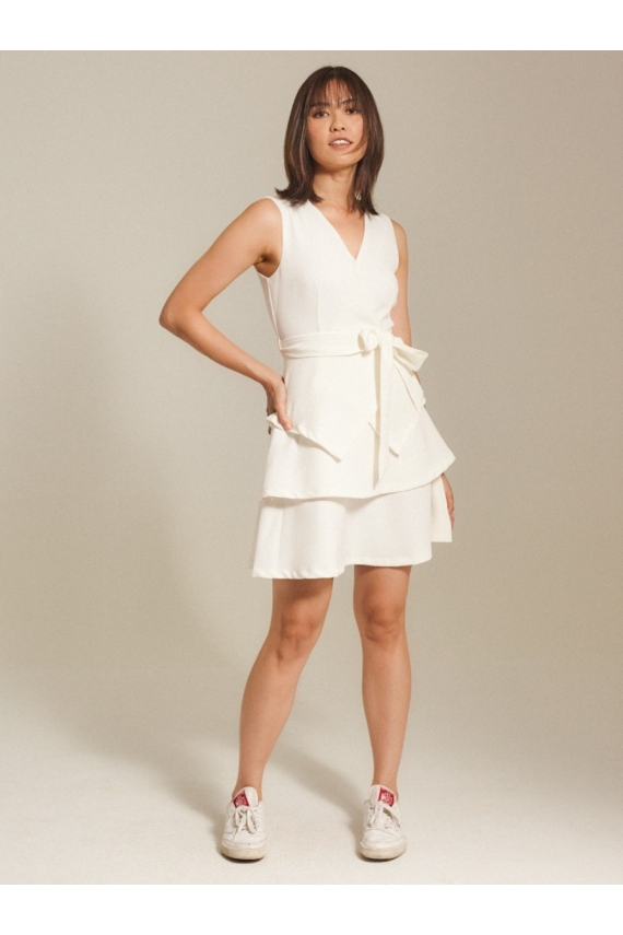 Tiered Cotton Twill Dress