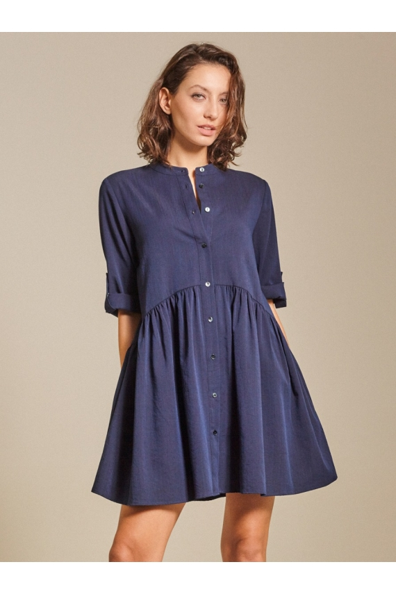 Drop-Waist Slub Cotton Shirt Dress