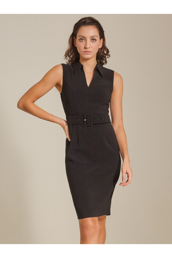 Belted Textured Woven Dress
