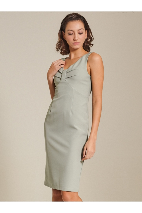Paneled V-neck Cady Dress