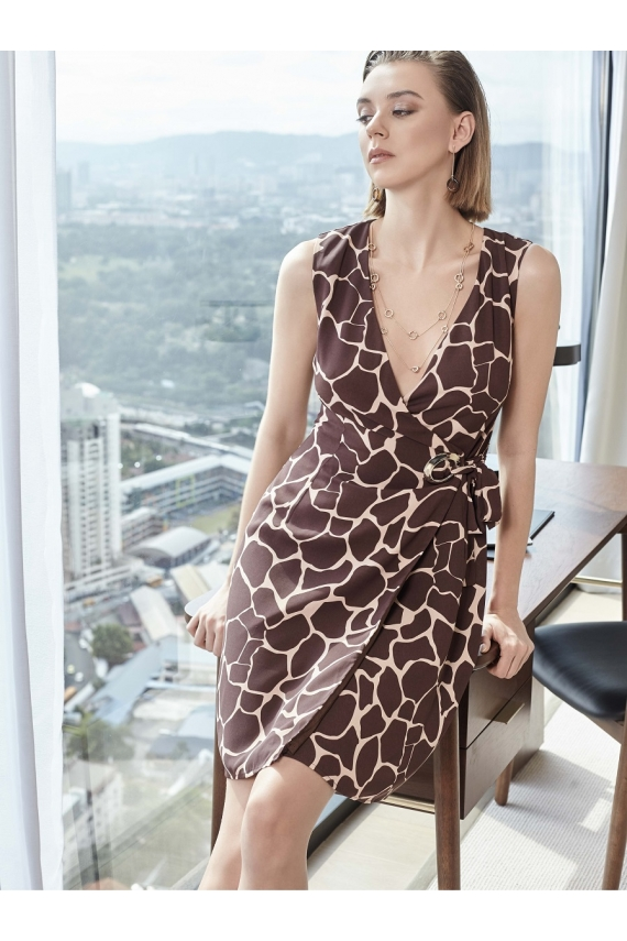 Safari Giraffe Print Crepe Wrap Dress
