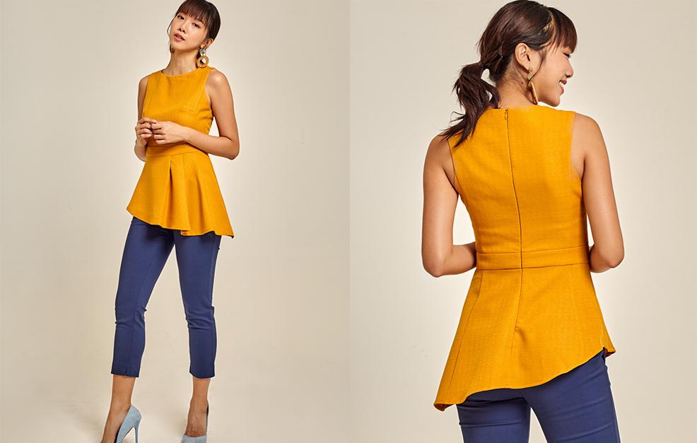 Asymmetrical Belted Cotton Linen Top