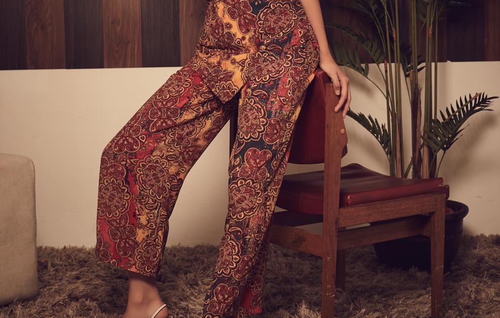 High-rise Printed Crepe Pants
