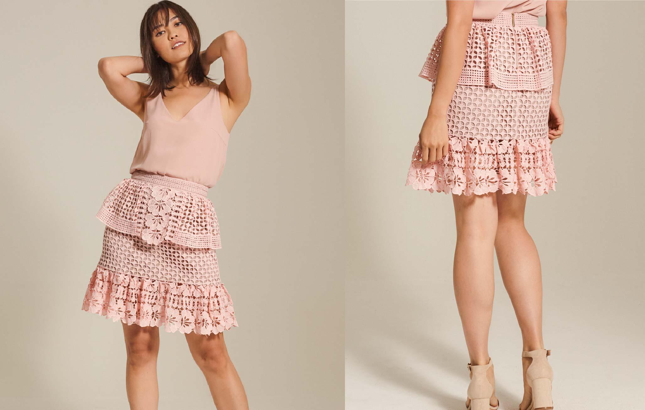 Guipure Lace Peplum Skirt