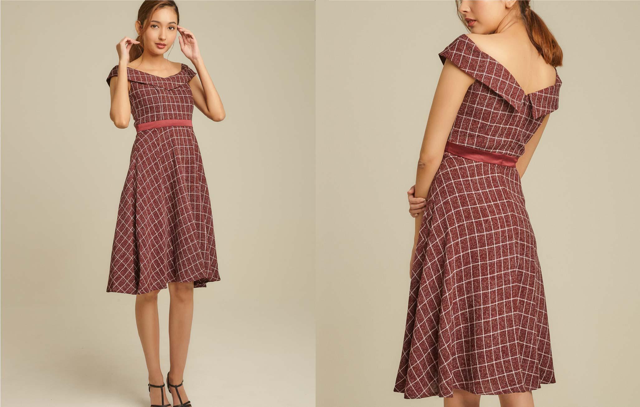 Off Shoulder Woven Midi Dress