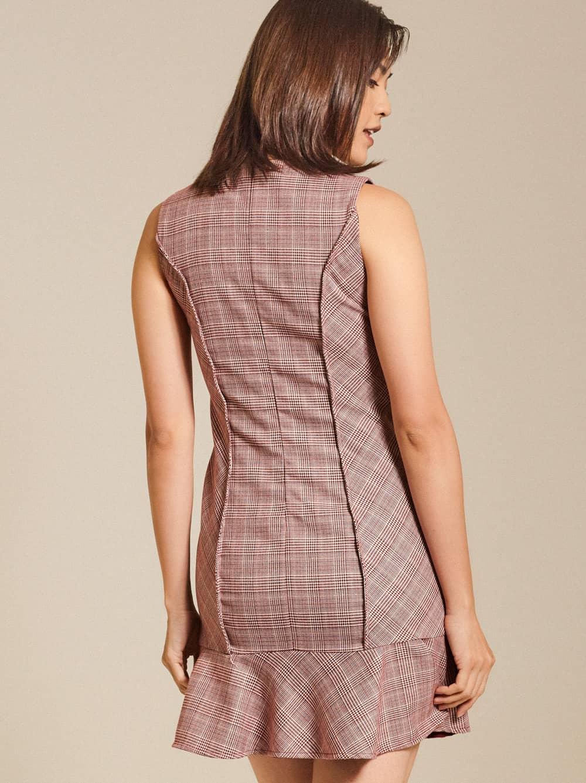 Ruflled Plaid Cotton-blend Mini Dress
