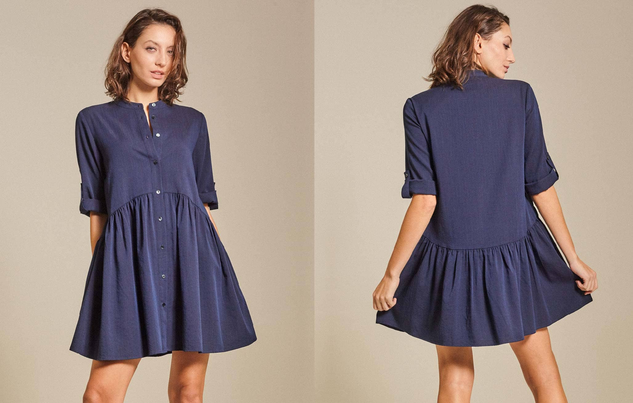 Drop-Waist Slub Cotton Shirt Dress