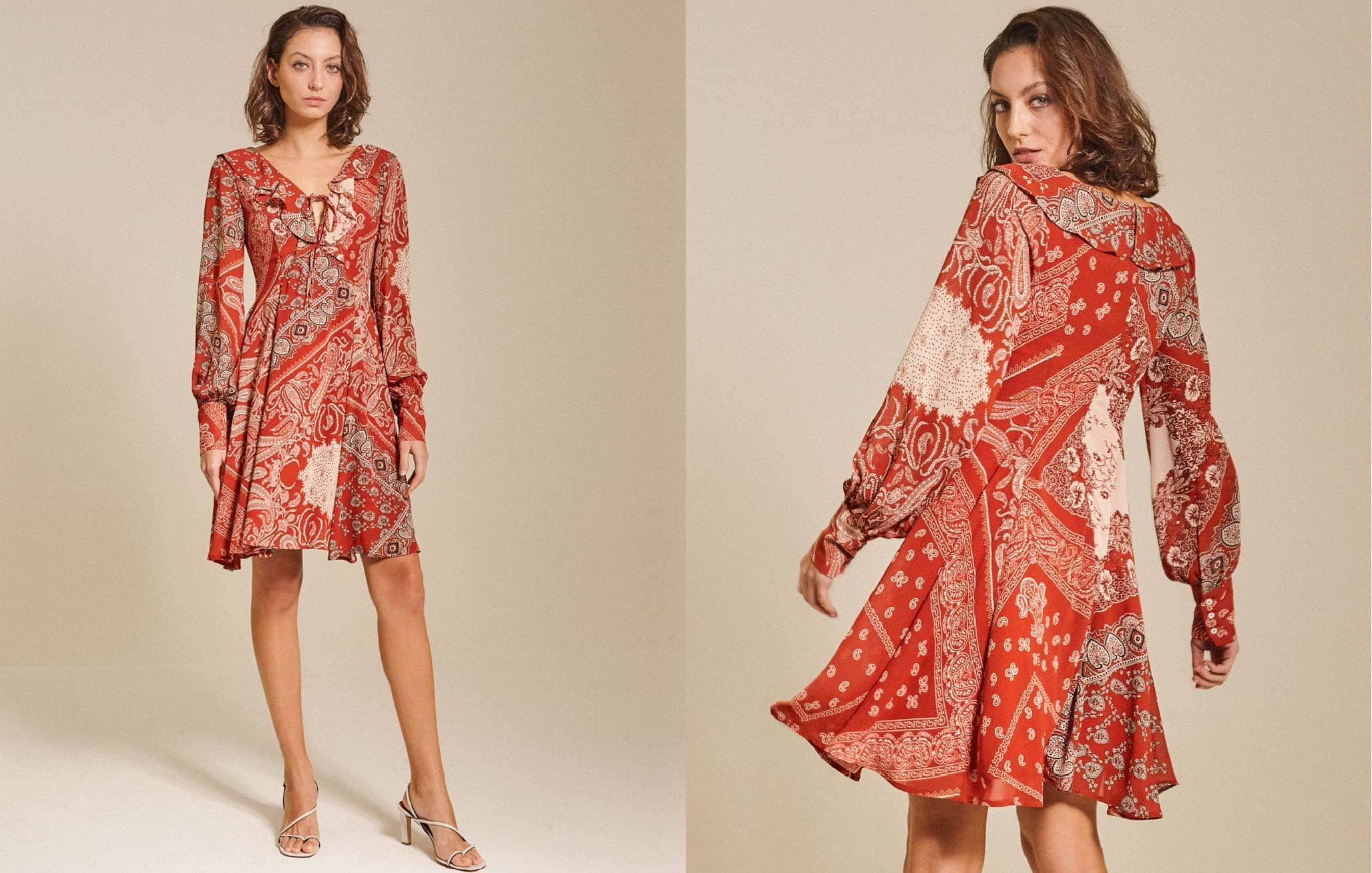 Ruffled Print Chiffon Dress