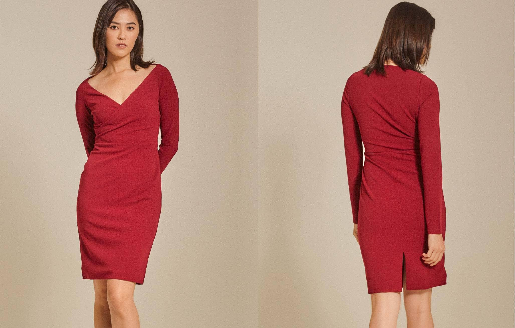 Long-Sleeved Roma Knit Bodycon Dress