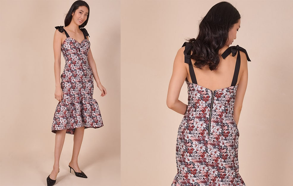 Strappy High Low Jacquard Dress