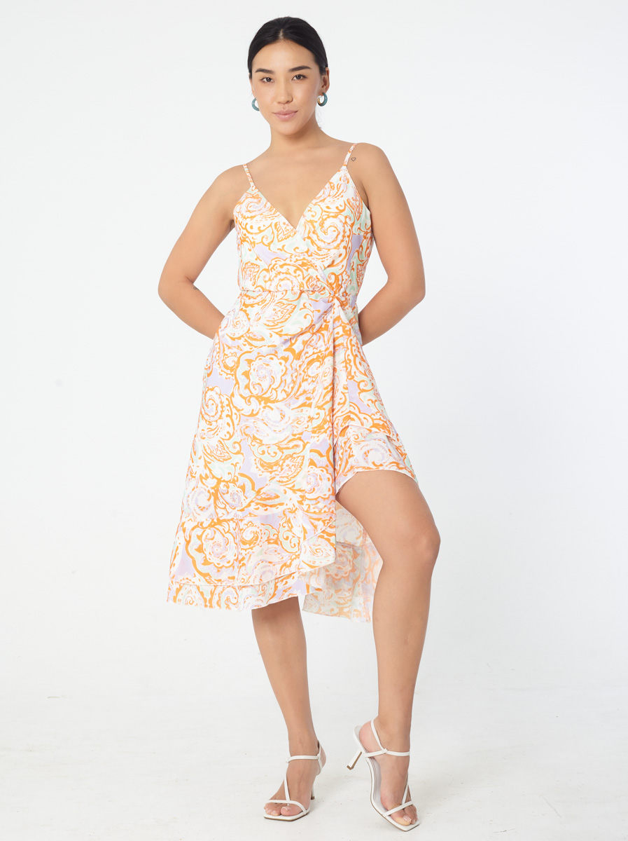 Deep V Sleeveless Dress with Ruffle Details