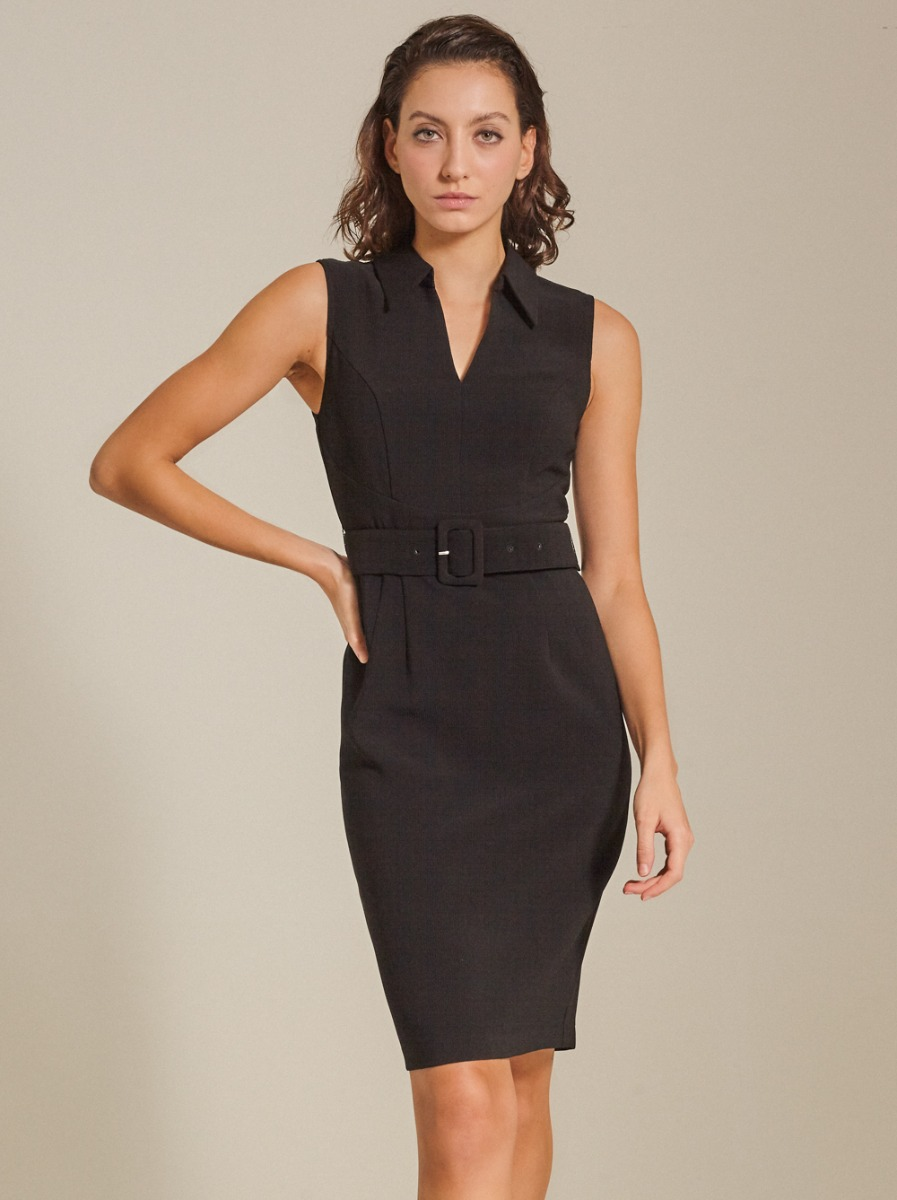 Belted Textured Woven Dress