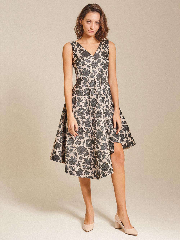 Asymmetrical Jacquard Dress