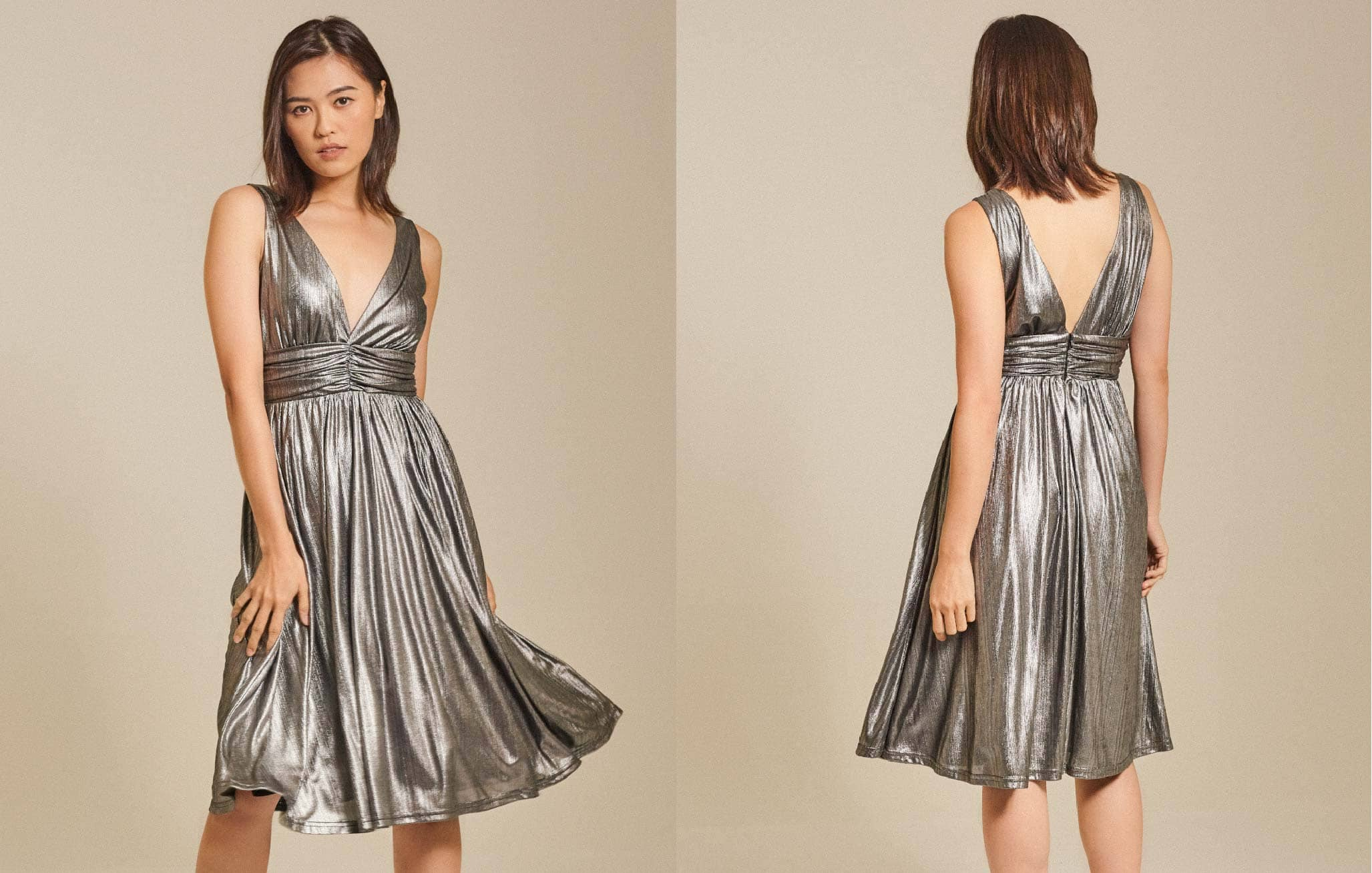 Foil Lame Midi Dress