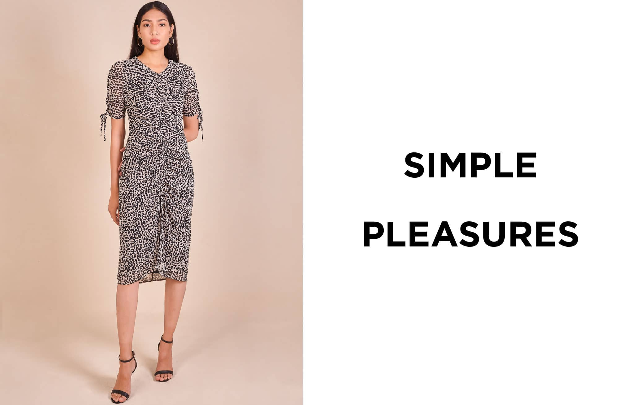 Ruched Leopard Print Chiffon Dress