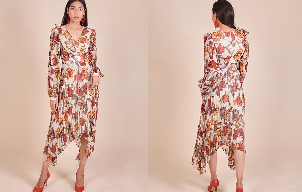 Pleated Printed Chiffon Sleeve Dress