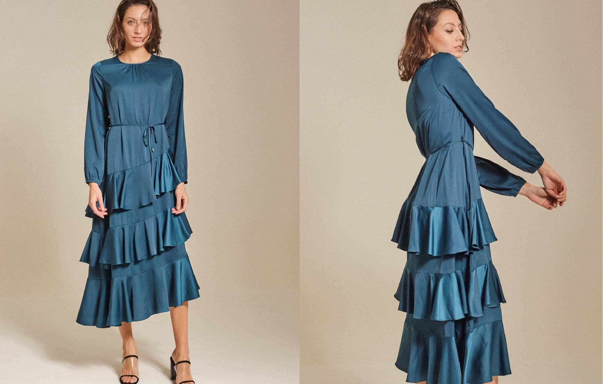 Tiered Satin Maxi Dress