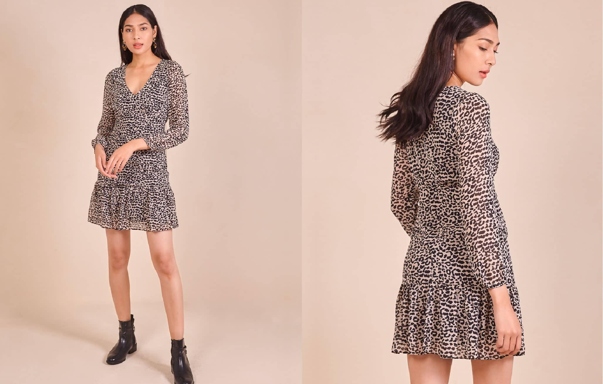 Drop-Waist Leopard Print Dress